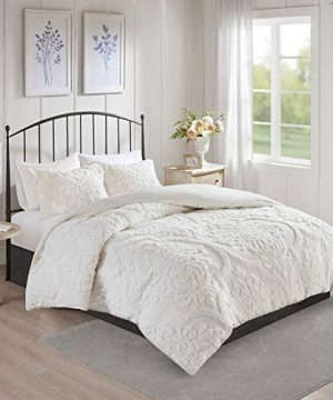 MISC 3 Piece White Tufted Chenille Duvet Cover Set KingCal King Size Textured 3D Damask Pattern Farmhouse Style Bedding Cotton 104x92 0 300x360