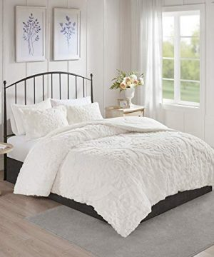 MISC Off White Chenille Comforter KingCal King Set Tufted Bedding Damask Chenile Cotton Farmhouse Pretty Shabby Chic Country Charm 3 Piece 0 0 300x360