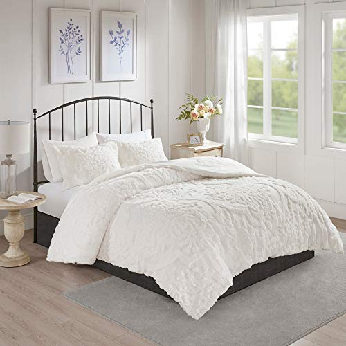 MISC Off White Chenille Comforter KingCal King Set Tufted Bedding Damask Chenile Cotton Farmhouse Pretty Shabby Chic Country Charm 3 Piece 0 0