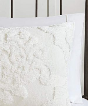 MISC Off White Chenille Comforter KingCal King Set Tufted Bedding Damask Chenile Cotton Farmhouse Pretty Shabby Chic Country Charm 3 Piece 0 2 300x360