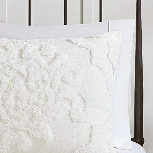 MISC Off White Chenille Comforter KingCal King Set Tufted Bedding Damask Chenile Cotton Farmhouse Pretty Shabby Chic Country Charm 3 Piece 0 2