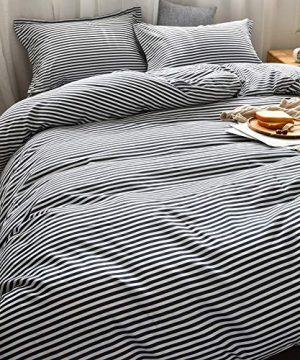 MMeagle Lightweight Microfiber Duvet Cover Grey BlueNavy Stripe Printed Pattern Bedding Sets With Zipper And Corner Ties For Women Mens Bedroom Queen Size3Pcs1 Duvet Cover2Pillowcases 0 0 300x360