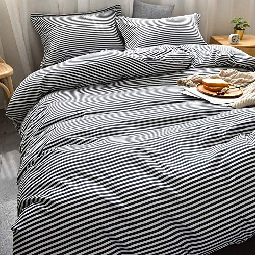 MMeagle Lightweight Microfiber Duvet Cover Grey BlueNavy Stripe Printed Pattern Bedding Sets With Zipper And Corner Ties For Women Mens Bedroom Queen Size3Pcs1 Duvet Cover2Pillowcases 0 0