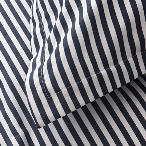 MMeagle Lightweight Microfiber Duvet Cover Grey BlueNavy Stripe Printed Pattern Bedding Sets With Zipper And Corner Ties For Women Mens Bedroom Queen Size3Pcs1 Duvet Cover2Pillowcases 0 1