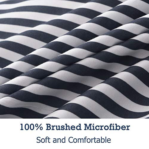 MMeagle Lightweight Microfiber Duvet Cover Grey BlueNavy Stripe Printed Pattern Bedding Sets With Zipper And Corner Ties For Women Mens Bedroom Queen Size3Pcs1 Duvet Cover2Pillowcases 0 2