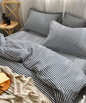 MMeagle Lightweight Microfiber Duvet Cover Grey BlueNavy Stripe Printed Pattern Bedding Sets With Zipper And Corner Ties For Women Mens Bedroom Queen Size3Pcs1 Duvet Cover2Pillowcases 0 300x360