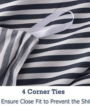 MMeagle Lightweight Microfiber Duvet Cover Grey BlueNavy Stripe Printed Pattern Bedding Sets With Zipper And Corner Ties For Women Mens Bedroom Queen Size3Pcs1 Duvet Cover2Pillowcases 0 4 300x360