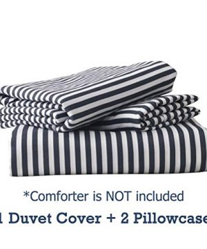 MMeagle Lightweight Microfiber Duvet Cover Grey BlueNavy Stripe Printed Pattern Bedding Sets With Zipper And Corner Ties For Women Mens Bedroom Queen Size3Pcs1 Duvet Cover2Pillowcases 0 5 300x360