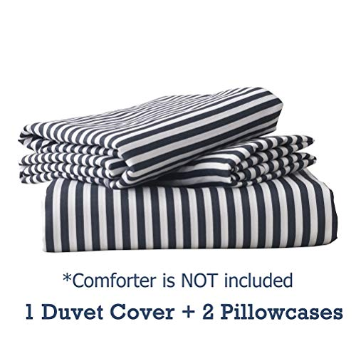 MMeagle Lightweight Microfiber Duvet Cover Grey BlueNavy Stripe Printed Pattern Bedding Sets With Zipper And Corner Ties For Women Mens Bedroom Queen Size3Pcs1 Duvet Cover2Pillowcases 0 5