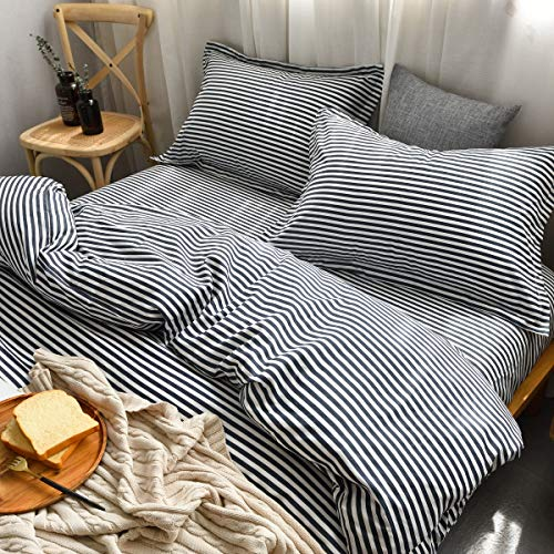 MMeagle Lightweight Microfiber Duvet Cover Grey BlueNavy Stripe Printed Pattern Bedding Sets With Zipper And Corner Ties For Women Mens Bedroom Queen Size3Pcs1 Duvet Cover2Pillowcases 0