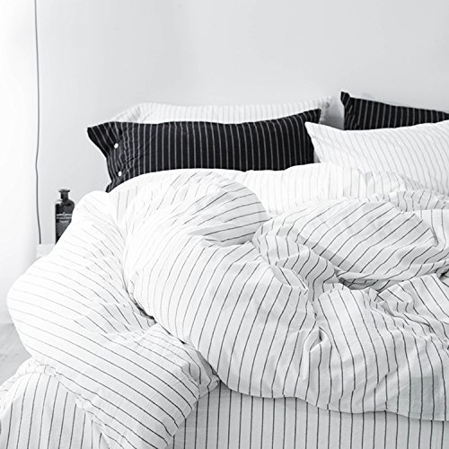 MOOMEE Bedding Duvet Cover Set 100 Washed Cotton Linen Like Textured Breathable Durable Soft Comfy 3pcs WhiteBlack Stripe Queen 0 1