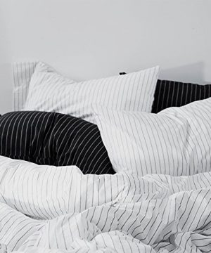 MOOMEE Bedding Duvet Cover Set 100 Washed Cotton Linen Like Textured Breathable Durable Soft Comfy 3pcs WhiteBlack Stripe Queen 0 3 300x360