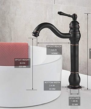 MYHB 360 Swivel Oil Rubbed Bronze Bathroom Vessel Sink Faucet With POP UP Drain Single Handle Lever Bowl Tap Mixer 0 0 300x360