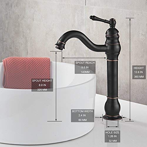 MYHB 360 Swivel Oil Rubbed Bronze Bathroom Vessel Sink Faucet With POP UP Drain Single Handle Lever Bowl Tap Mixer 0 0