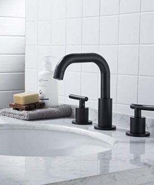 MYHB SH001H 2 Handle 8 Inch Widespread Bathroom Faucet For 3 Hole Sink Matte Black 0 0 300x360