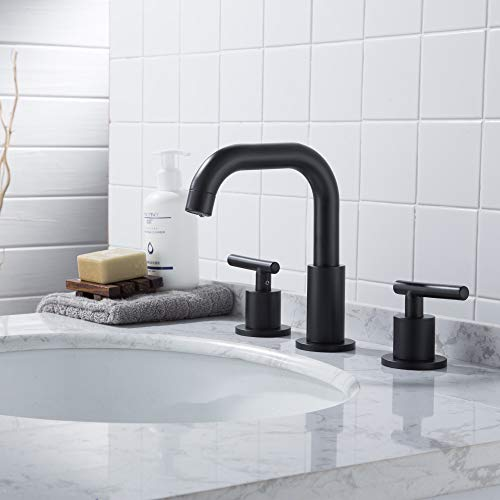 MYHB SH001H 2 Handle 8 Inch Widespread Bathroom Faucet For 3 Hole Sink Matte Black 0 0