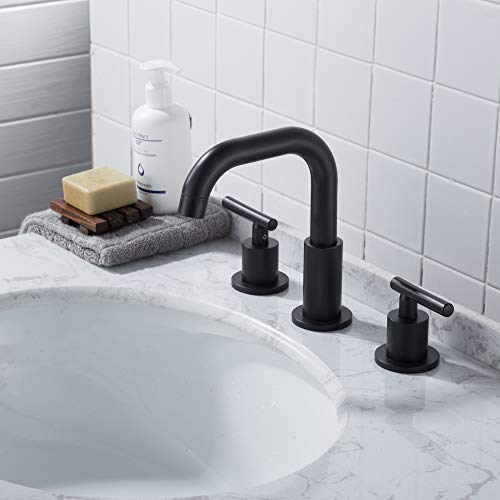 MYHB SH001H 2 Handle 8 Inch Widespread Bathroom Faucet For 3 Hole Sink Matte Black 0 1