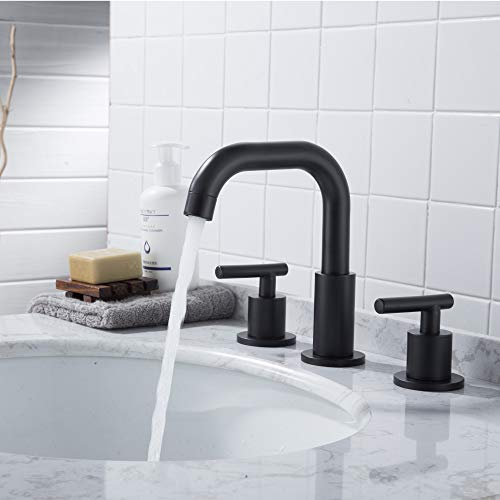 MYHB SH001H 2 Handle 8 Inch Widespread Bathroom Faucet For 3 Hole Sink Matte Black 0 2