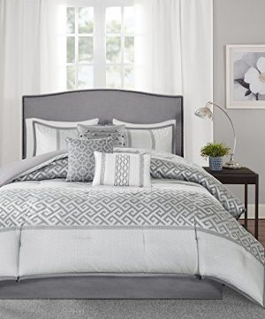 Madison Park Bennett 7 Piece Comforter Set Grey Queen 0 300x360