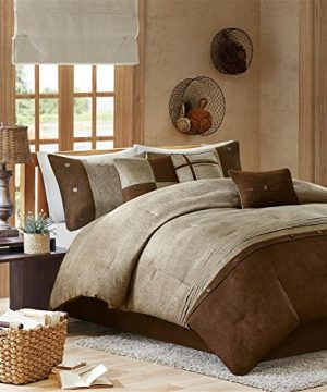 Madison Park Boone Cal King Size Bed Comforter Set Bed In A Bag Brown Textured Print 7 Pieces Bedding Sets Micro Suede Bedroom Comforters 0 300x360
