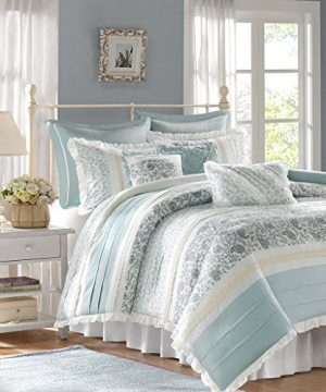 Madison Park Dawn Duvet Cover King Size Aqua Floral Shabby Chic Duvet Cover Set 9 Piece 100 Cotton Percale Light Weight Bed Comforter Covers 0 300x360