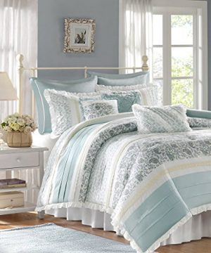 Madison Park Dawn Queen Size Bed Comforter Set Bed In A Bag Aqua Floral Shabby Chic 9 Pieces Bedding Sets 100 Cotton Percale Bedroom Comforters 0 0 300x360