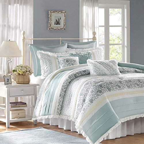 Madison Park Dawn Queen Size Bed Comforter Set Bed In A Bag Aqua Floral Shabby Chic 9 Pieces Bedding Sets 100 Cotton Percale Bedroom Comforters 0 0