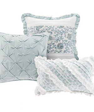 Madison Park Dawn Queen Size Bed Comforter Set Bed In A Bag Aqua Floral Shabby Chic 9 Pieces Bedding Sets 100 Cotton Percale Bedroom Comforters 0 2 300x360
