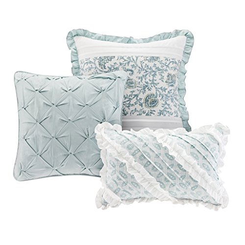 Madison Park Dawn Queen Size Bed Comforter Set Bed In A Bag Aqua Floral Shabby Chic 9 Pieces Bedding Sets 100 Cotton Percale Bedroom Comforters 0 2