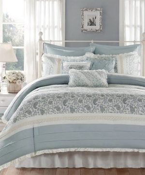 Madison Park Dawn Queen Size Bed Comforter Set Bed In A Bag Aqua Floral Shabby Chic 9 Pieces Bedding Sets 100 Cotton Percale Bedroom Comforters 0 3 300x360