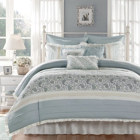 Madison Park Dawn Queen Size Bed Comforter Set Bed In A Bag Aqua Floral Shabby Chic 9 Pieces Bedding Sets 100 Cotton Percale Bedroom Comforters 0 3