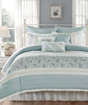 Madison Park Dawn Queen Size Bed Comforter Set Bed In A Bag Aqua Floral Shabby Chic 9 Pieces Bedding Sets 100 Cotton Percale Bedroom Comforters 0 300x360