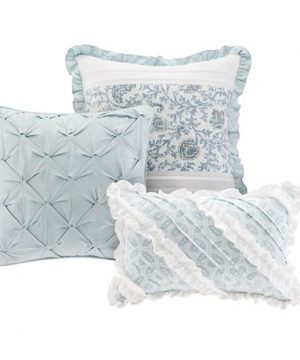 Madison Park Dawn Queen Size Bed Comforter Set Bed In A Bag Aqua Floral Shabby Chic 9 Pieces Bedding Sets 100 Cotton Percale Bedroom Comforters 0 5 300x360