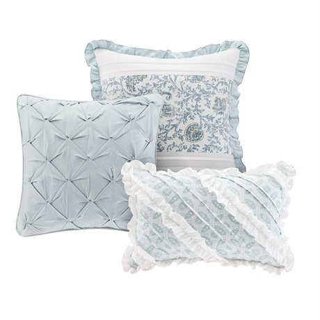 Madison Park Dawn Queen Size Bed Comforter Set Bed In A Bag Aqua Floral Shabby Chic 9 Pieces Bedding Sets 100 Cotton Percale Bedroom Comforters 0 5