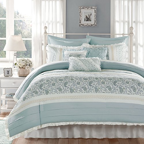 Madison Park Dawn Queen Size Bed Comforter Set Bed In A Bag Aqua Floral Shabby Chic 9 Pieces Bedding Sets 100 Cotton Percale Bedroom Comforters 0