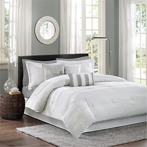 Madison Park Hampton King Size Bed Comforter Set Bed In A Bag White Jacquard Pleated Stripes 7 Pieces Bedding Sets Ultra Soft Microfiber Bedroom Comforters 0
