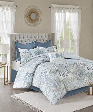 Madison Park Isla California King Comforter Sets With Designs Printed Cotton Percale Botanical Floral Medallion Solid Reversible Bedding Blue 0 0 300x360