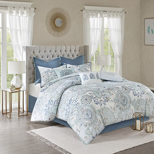 Madison Park Isla California King Comforter Sets With Designs Printed Cotton Percale Botanical Floral Medallion Solid Reversible Bedding Blue 0 0