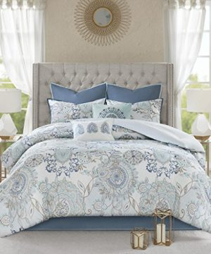 Madison Park Isla California King Comforter Sets With Designs Printed Cotton Percale Botanical Floral Medallion Solid Reversible Bedding Blue 0 1 300x360