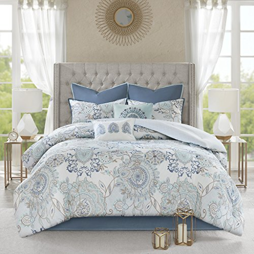 Madison Park Isla California King Comforter Sets With Designs Printed Cotton Percale Botanical Floral Medallion Solid Reversible Bedding Blue 0 1
