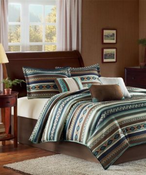Madison Park Malone Cal King Size Bed Comforter Set Bed In A Bag Blue Brown Southwestern Pattern Fair Isle 7 Pieces Bedding Sets Micro Herringbone Fabric Bedroom Comforters 0 300x360