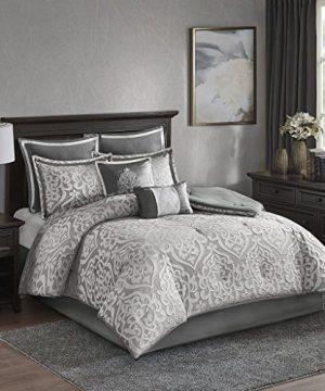 Madison Park Odette 8 Piece Jacquard Bedding Comforter Set With Damask Stria King Silver 0 0 300x360