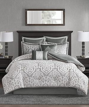 Madison Park Odette 8 Piece Jacquard Bedding Comforter Set With Damask Stria King Silver 0 300x360