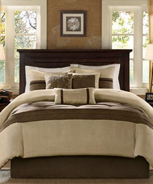 Madison Park Palmer 7 Piece Comforter Set Natural Queen Pieced Microsuede Includes 1 Comforter 3 Decorative Pillows 1 Bed Skirt 2 Shams 0 300x360