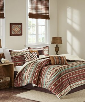 Madison Park Taos Cal King Size Bed Comforter Set Bed In A Bag Rosewood Red Geometric 7 Pieces Bedding Sets Ultra Soft Microfiber Bedroom Comforters 0 300x360