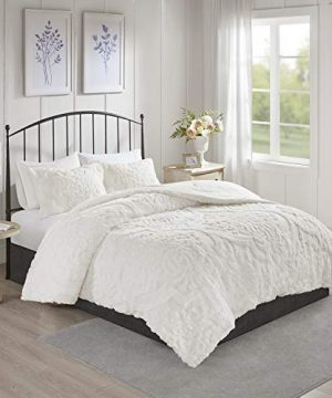 Madison Park Viola Comforter Reversible Cotton Chenille Damask Flower Floral Botanical Tufted Fringe Soft Overfilled Down Alternative Hypoallergenic All Season Bedding Set KingCal King White 0 300x360