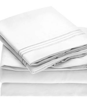 Mellanni Bed Sheet Set Brushed Microfiber 1800 Bedding Wrinkle Fade Stain Resistant Hypoallergenic 4 Piece King White 0 300x360