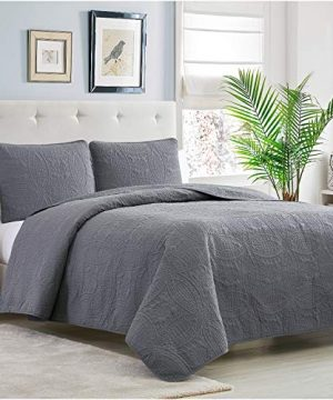 Mellanni Bedspread Coverlet Set Charcoal Comforter Bedding Cover Oversized 3 Piece Quilt Set KingCal King Gray 0 0 300x360