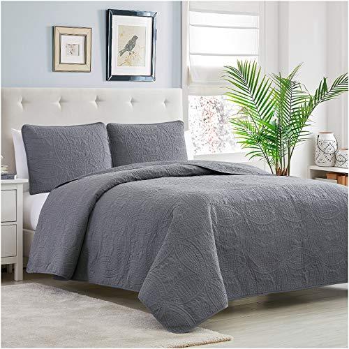 Mellanni Bedspread Coverlet Set Charcoal Comforter Bedding Cover Oversized 3 Piece Quilt Set KingCal King Gray 0 0