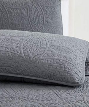 Mellanni Bedspread Coverlet Set Charcoal Comforter Bedding Cover Oversized 3 Piece Quilt Set KingCal King Gray 0 1 300x360